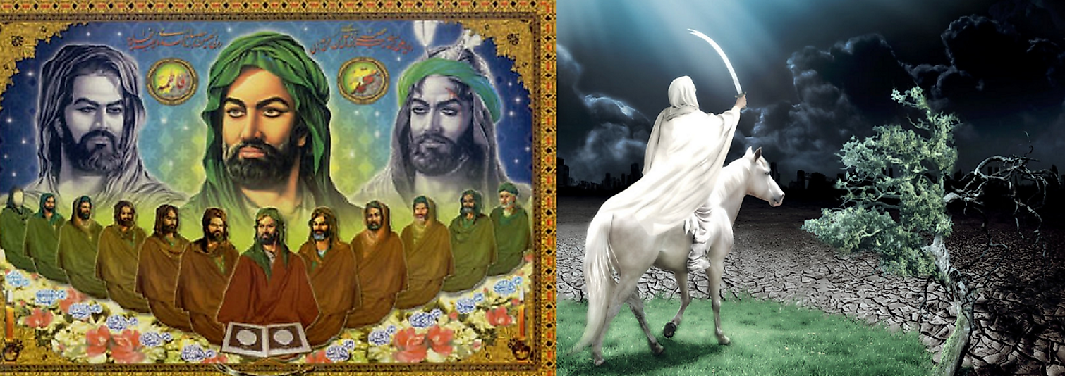 Depiction of the Twelve Imams seated together (left) and the Mahdi's triumphant return (right).