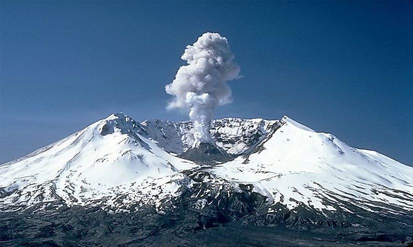 Mount St. Helens photographed during a 1982 eruption.