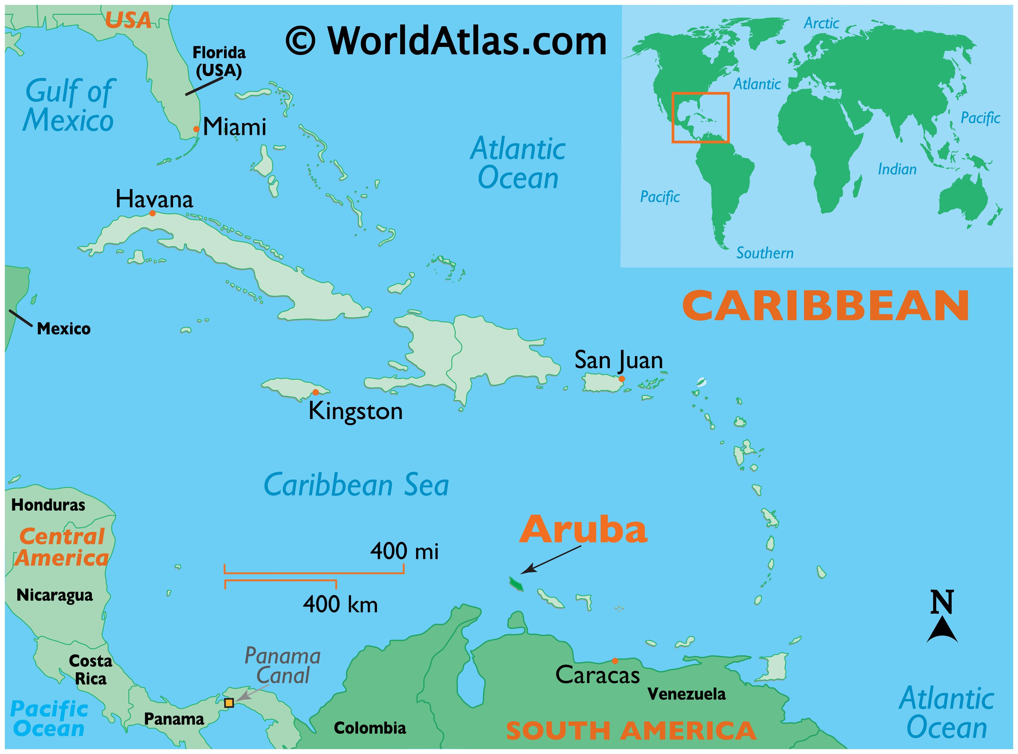Map showing location of Aruba in the world.