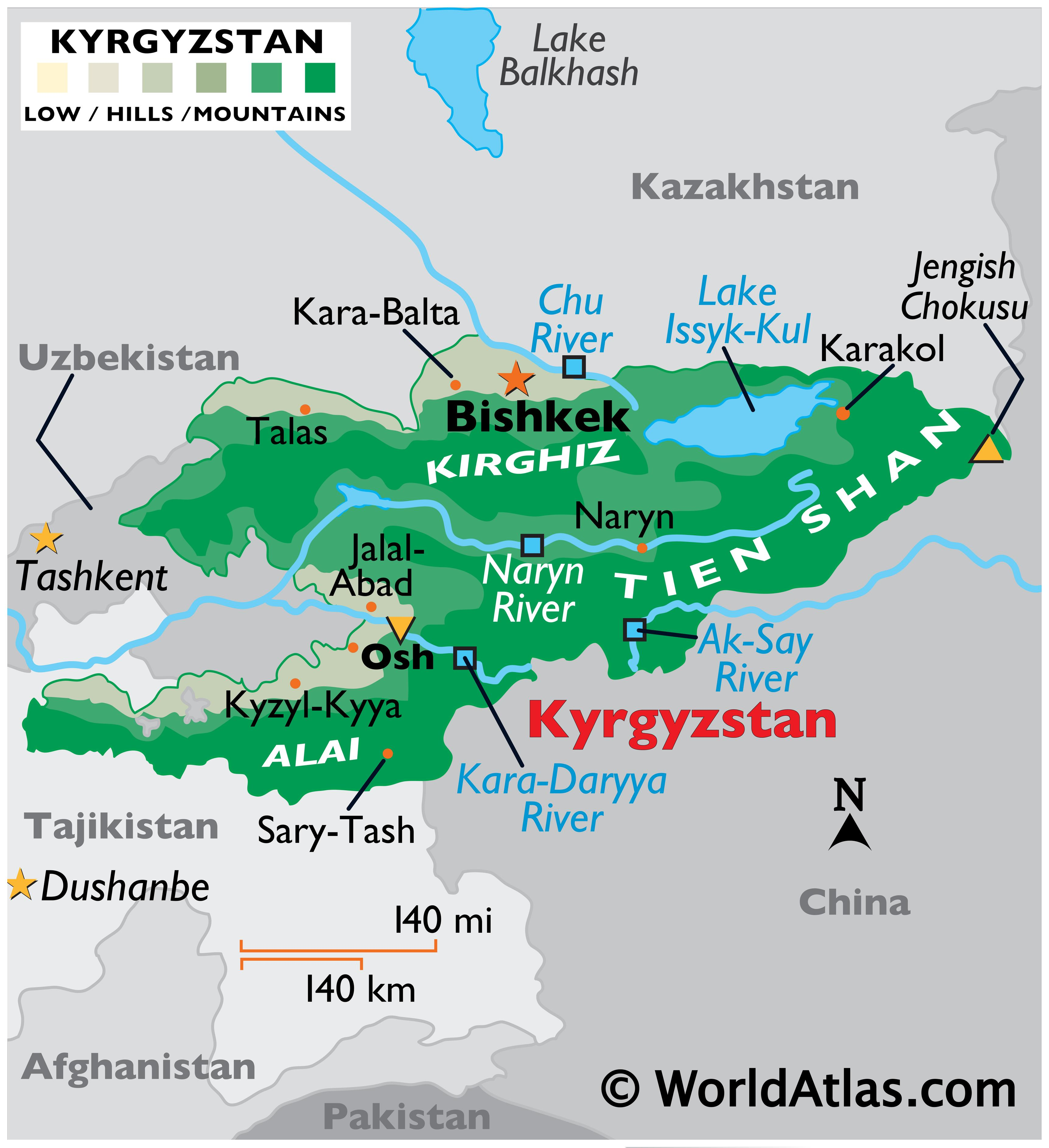 Physical Map of Kyrgyzstan showing relief, highest point and lowest points, major mountain ranges, rivers, important urban centres, etc.