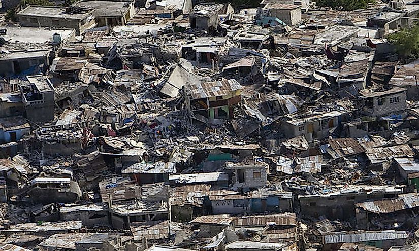 Massive destruction incurred during the Haiti earthquake in 2010.