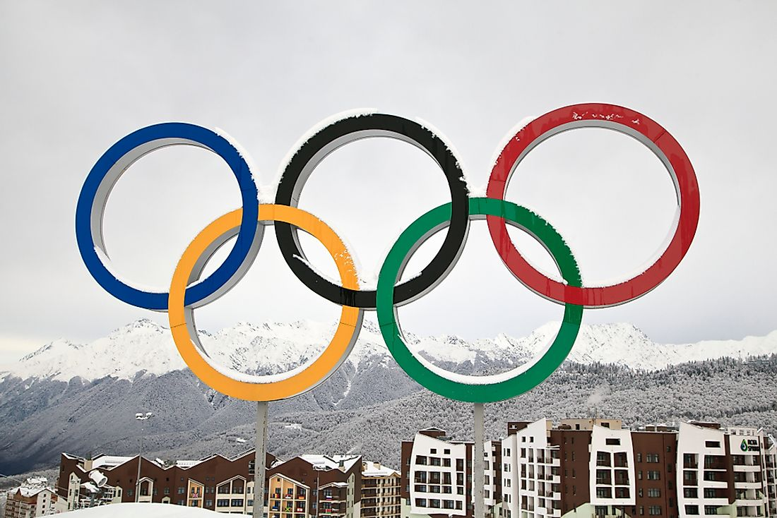 The Olympic rings at the Winter Olympics in Sochi. Editorial credit: evgenii mitroshin / Shutterstock.com.