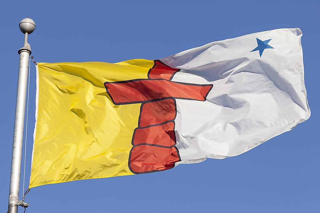 The flag of Nunavut was proclaimed along with the creation of the territory on April 1, 1999.