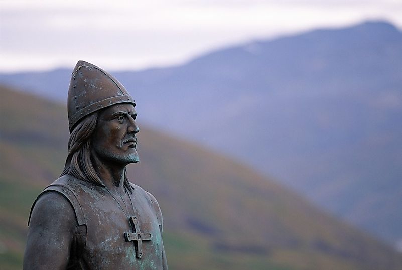 This statue of Leif Erikson stands in Greenland, the land where many of his adolescent years were spent.