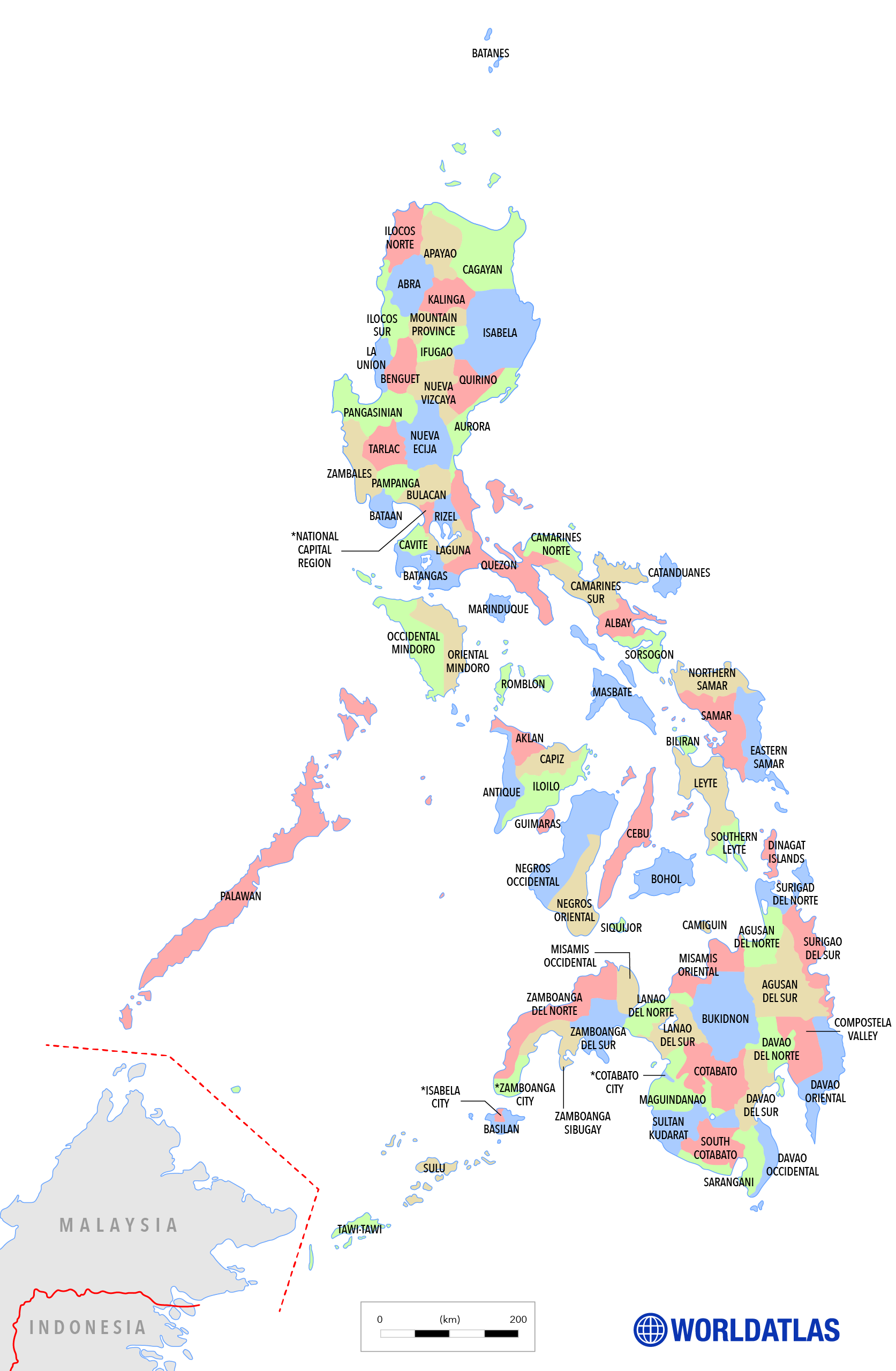 Map of the Philippines. Political map with Filipino provinces labeled.