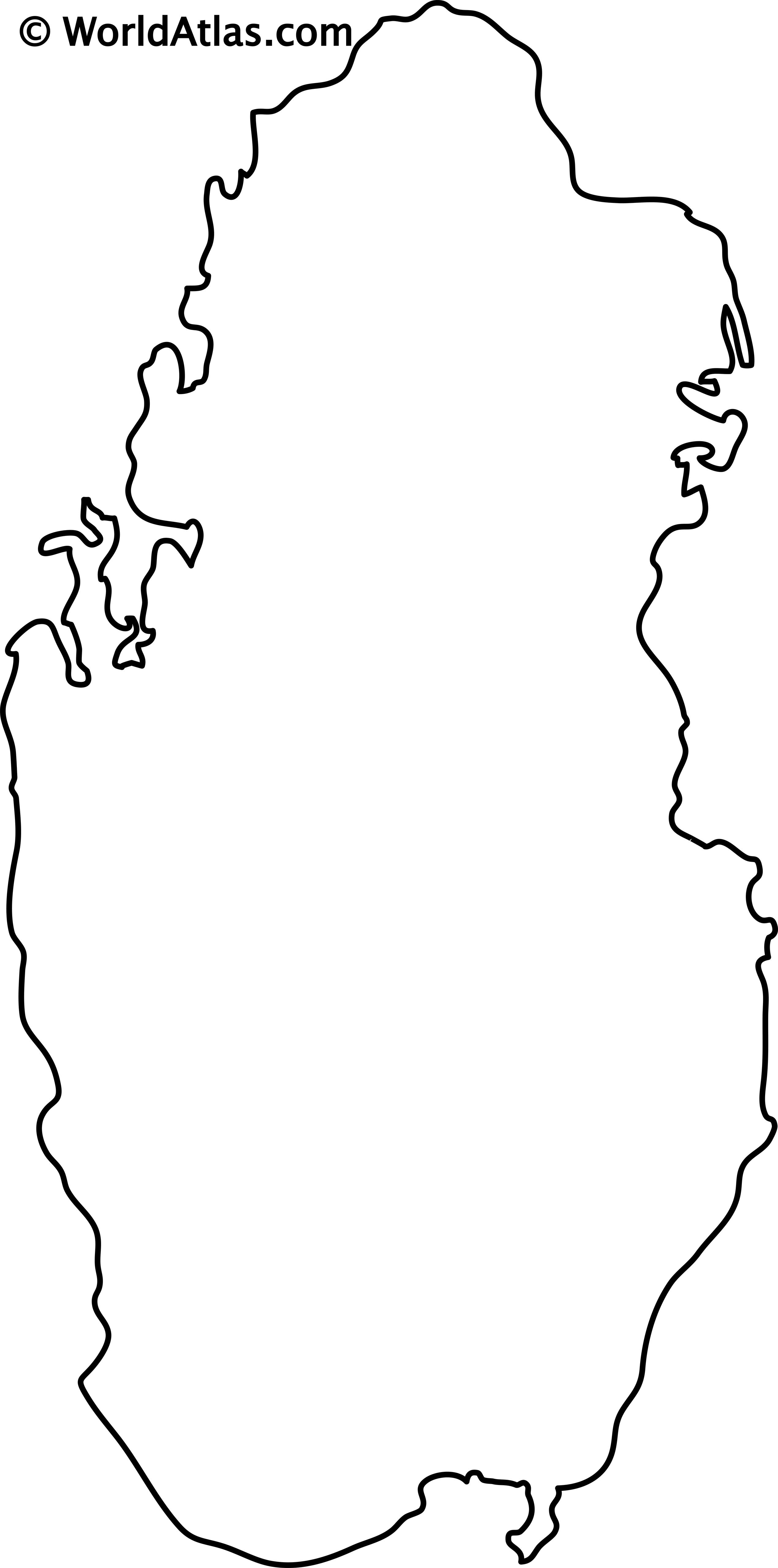 Blank Outline Map of Qatar