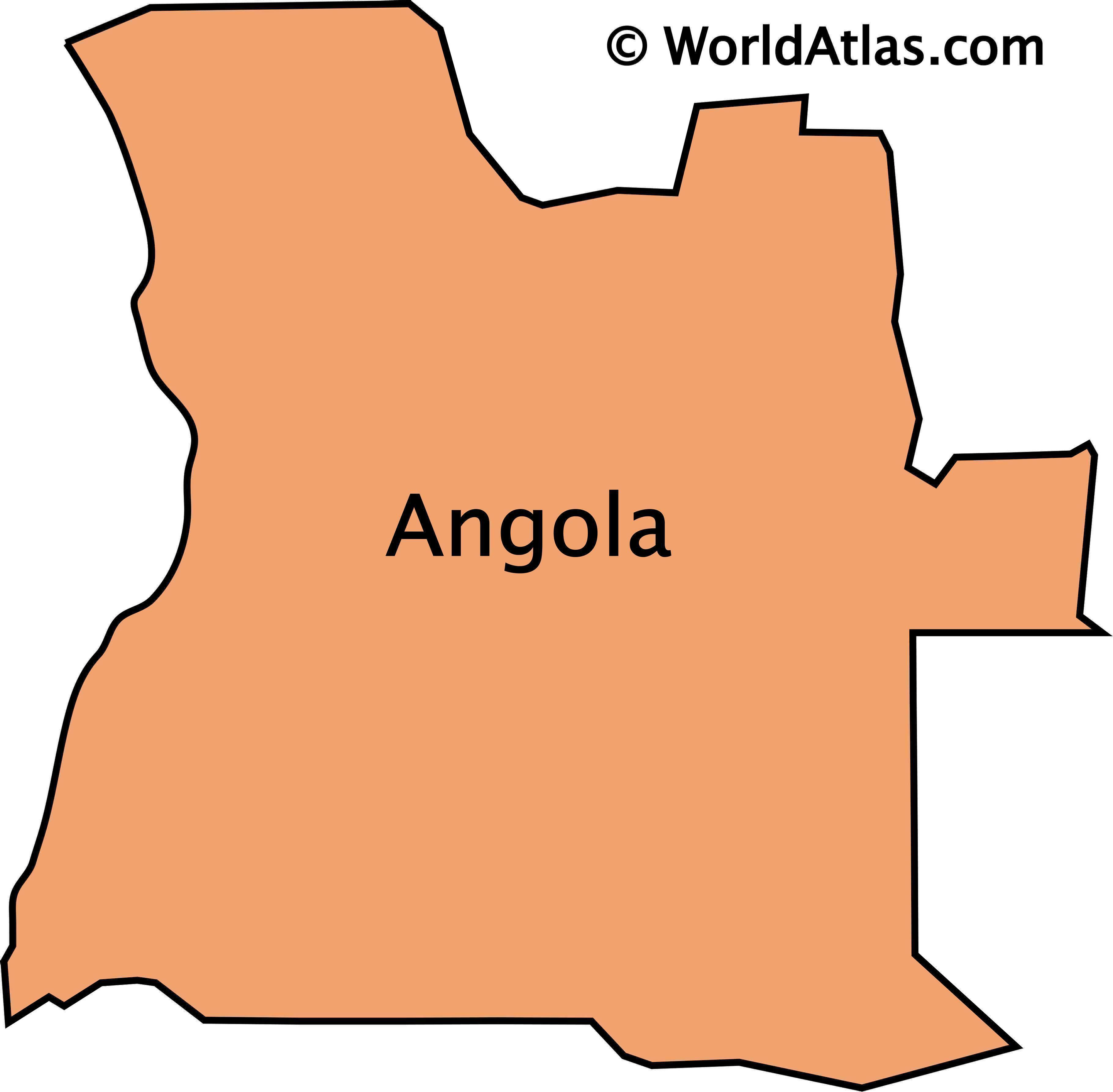 Outline map of Angola it does not include the exclave of Cabinda.