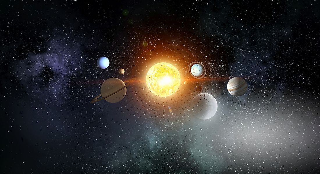 A 3D rendering of the Solar System.