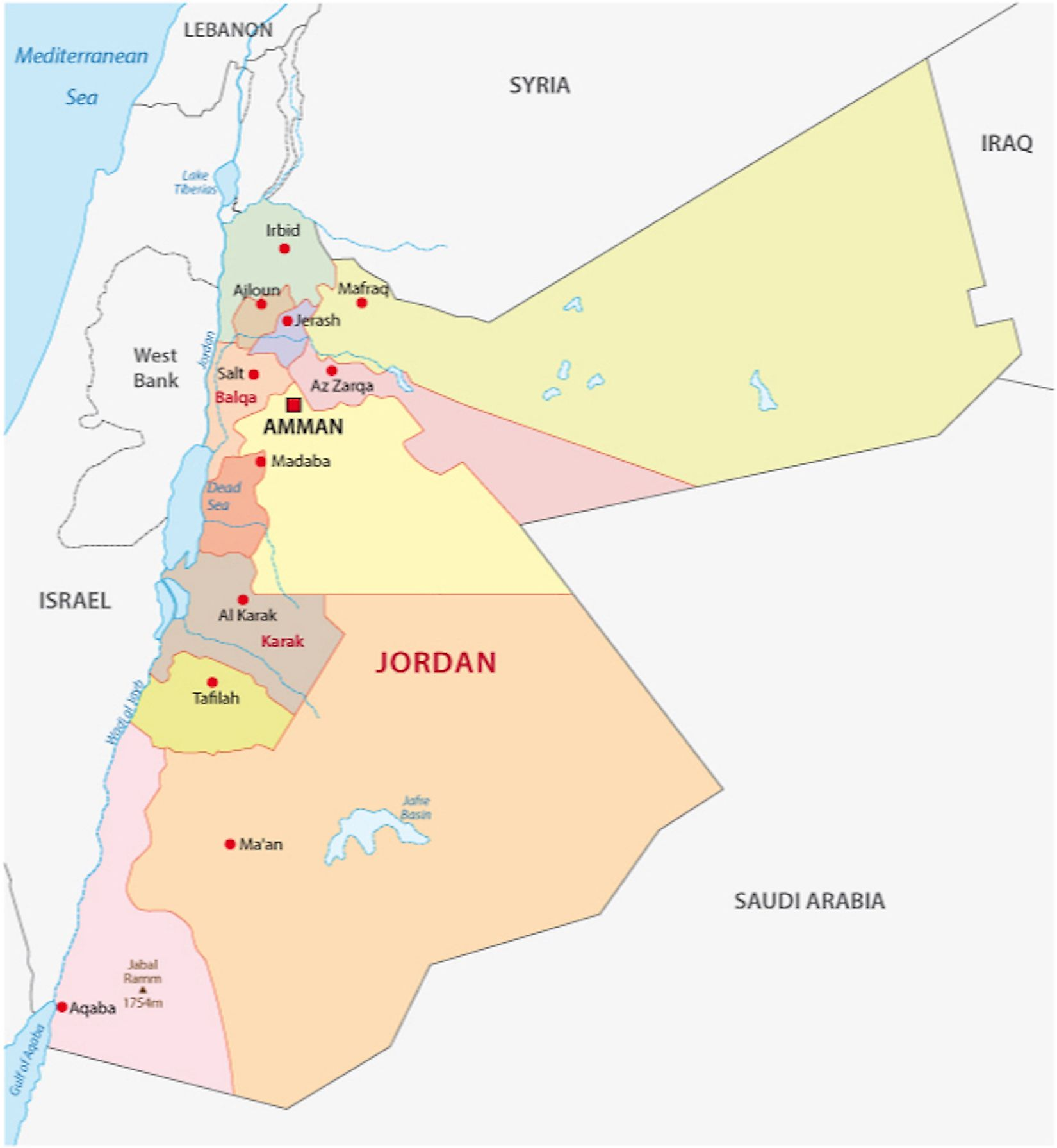 Political Map of Jordan displaying 12 governorates and the national capital of Amman.