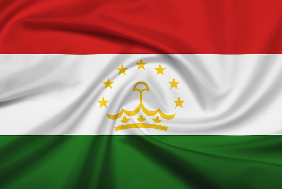 The official flag of Tajikistan.