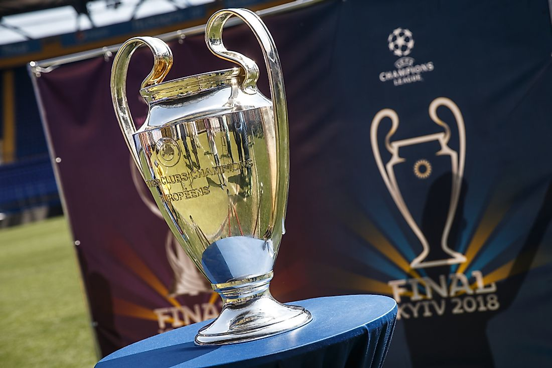 The UEFA Champions League Cup.  Editorial credit: Oleksandr Osipov / Shutterstock.com.