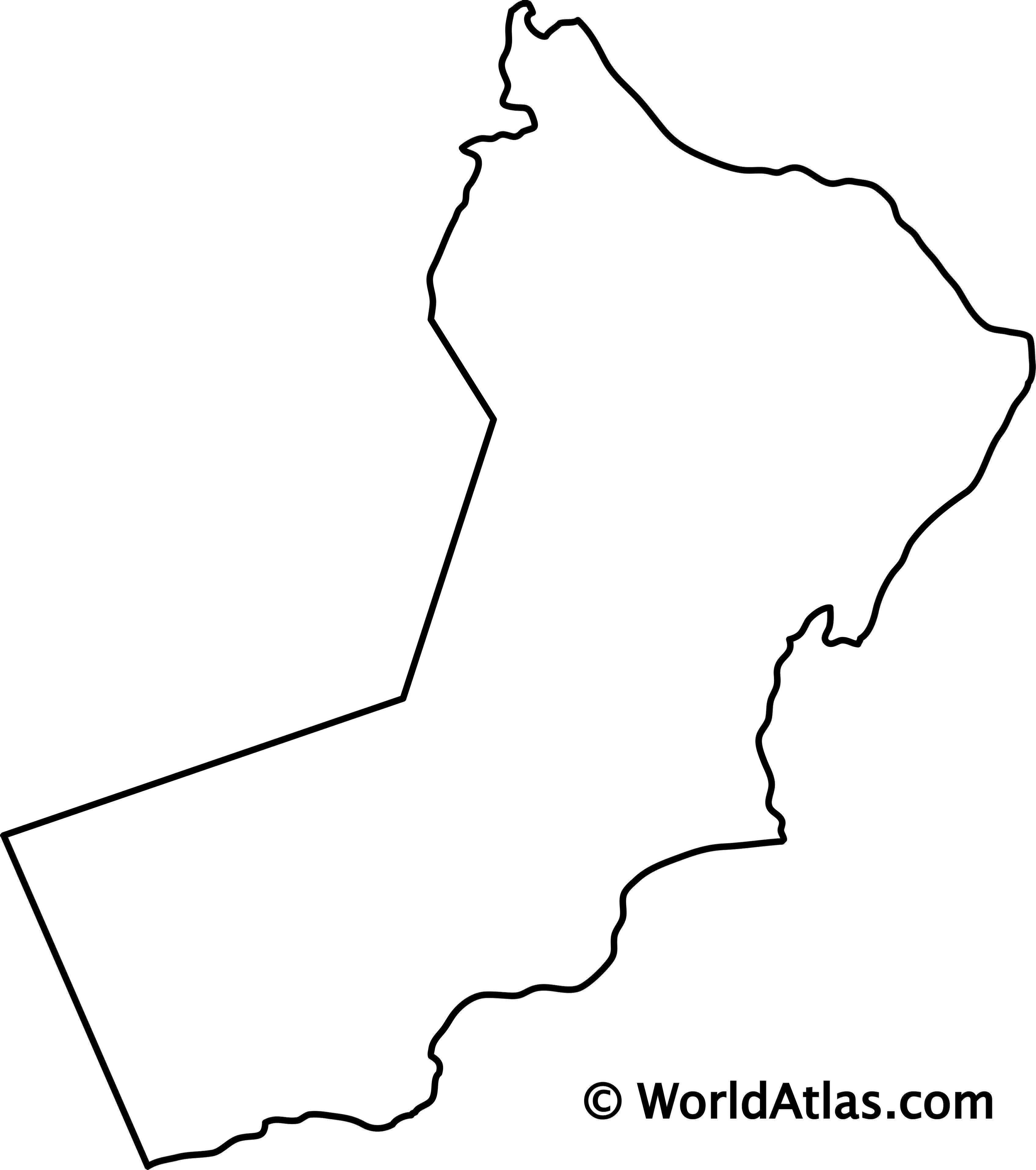 Blank Outline Map of Oman