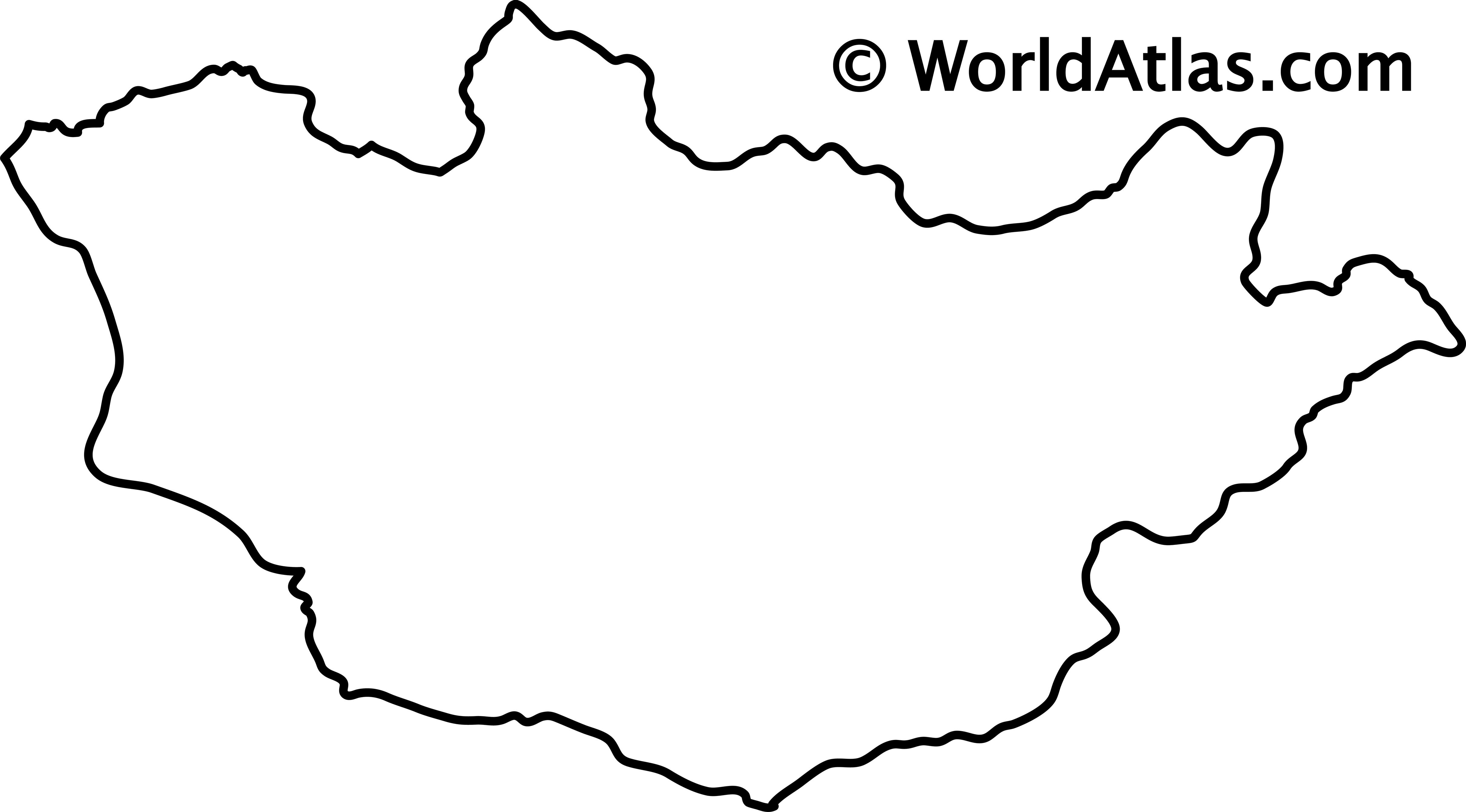 Blank Outline Map of Mongolia