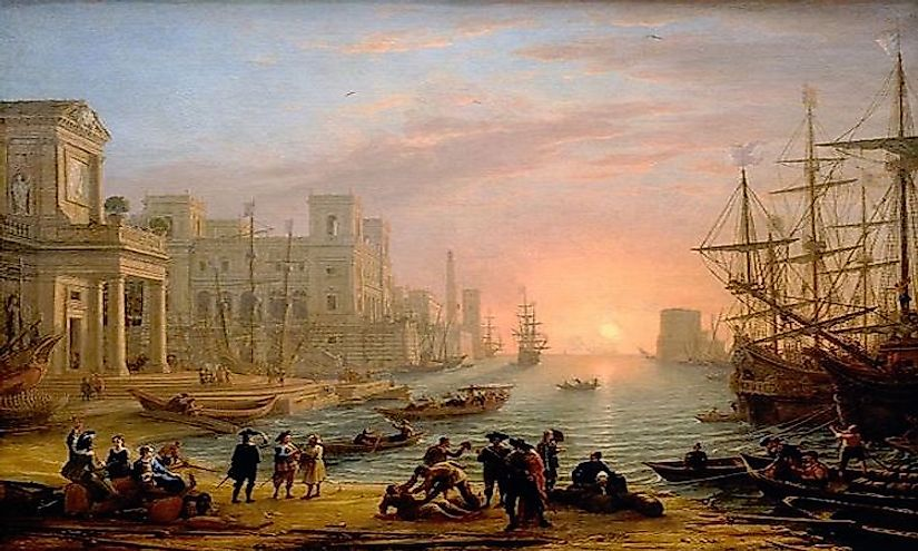 An imaginary seaport painted by Claude Lorrain around 1639, at the height of mercantilism.
