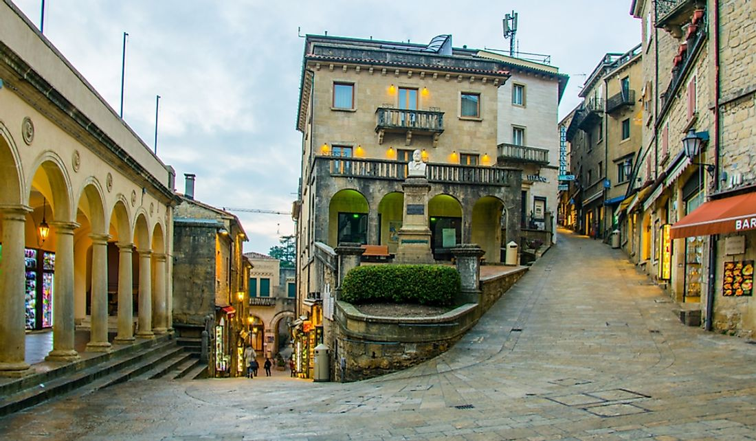 Historical center of San Marino city on the slopes of Monte Titano.  Editorial credit: trabantos / Shutterstock.com