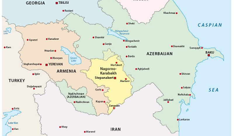A map showing the location of Nagorno-Karabakh,
