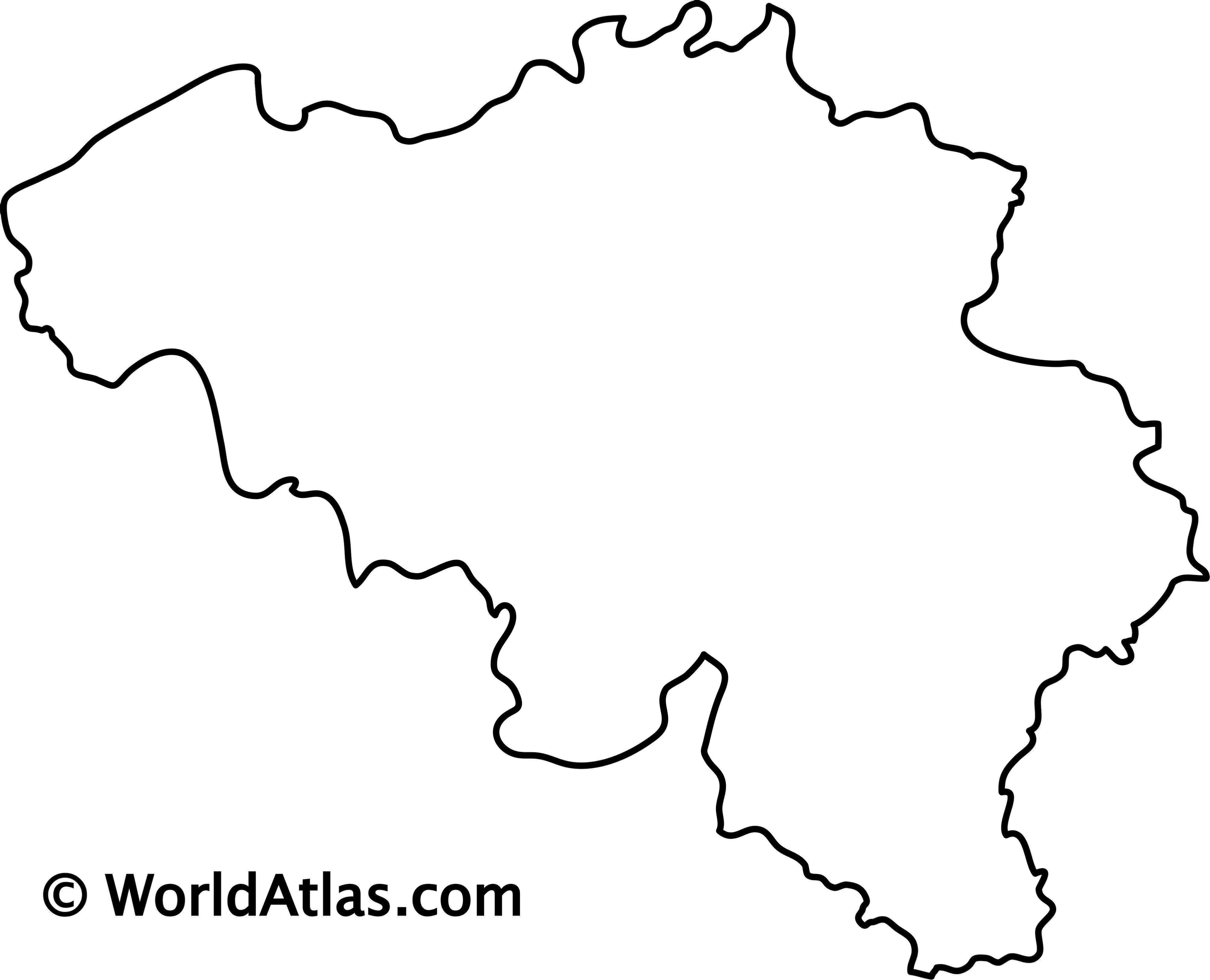 Blank outline map of Belgium