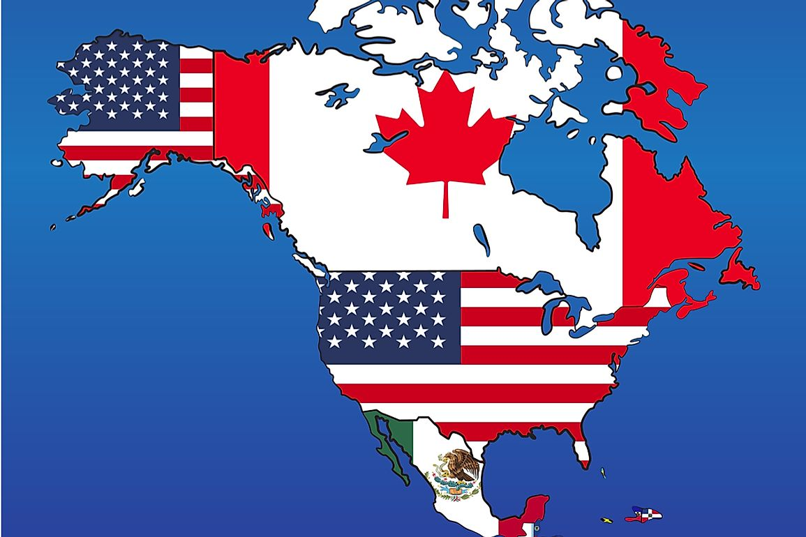 The United States lies within the central portion of the continent of North America.