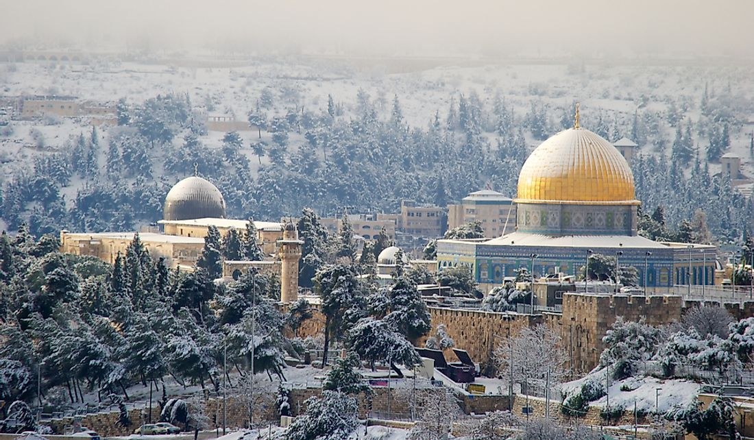 Snowfall over Jerusalem, Israel.