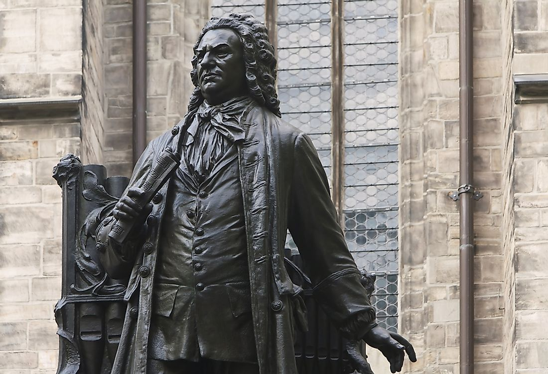 Statue of Bach outside St. Thomas Church, where he performed as an organist and music teacher.