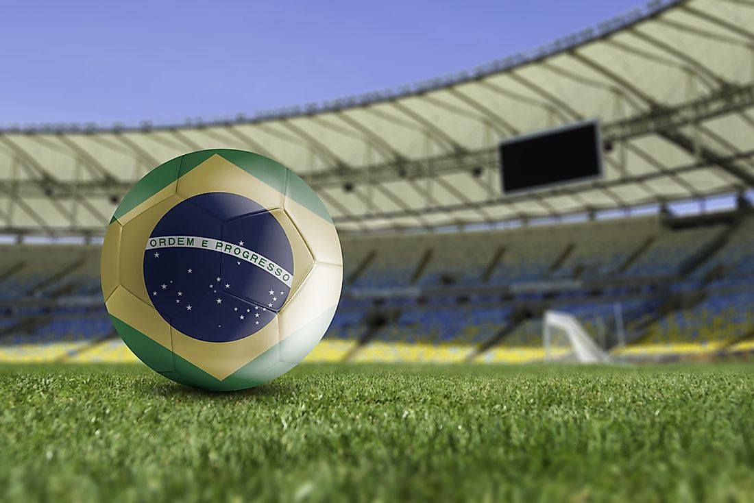 A football showing the Brazilian flag.