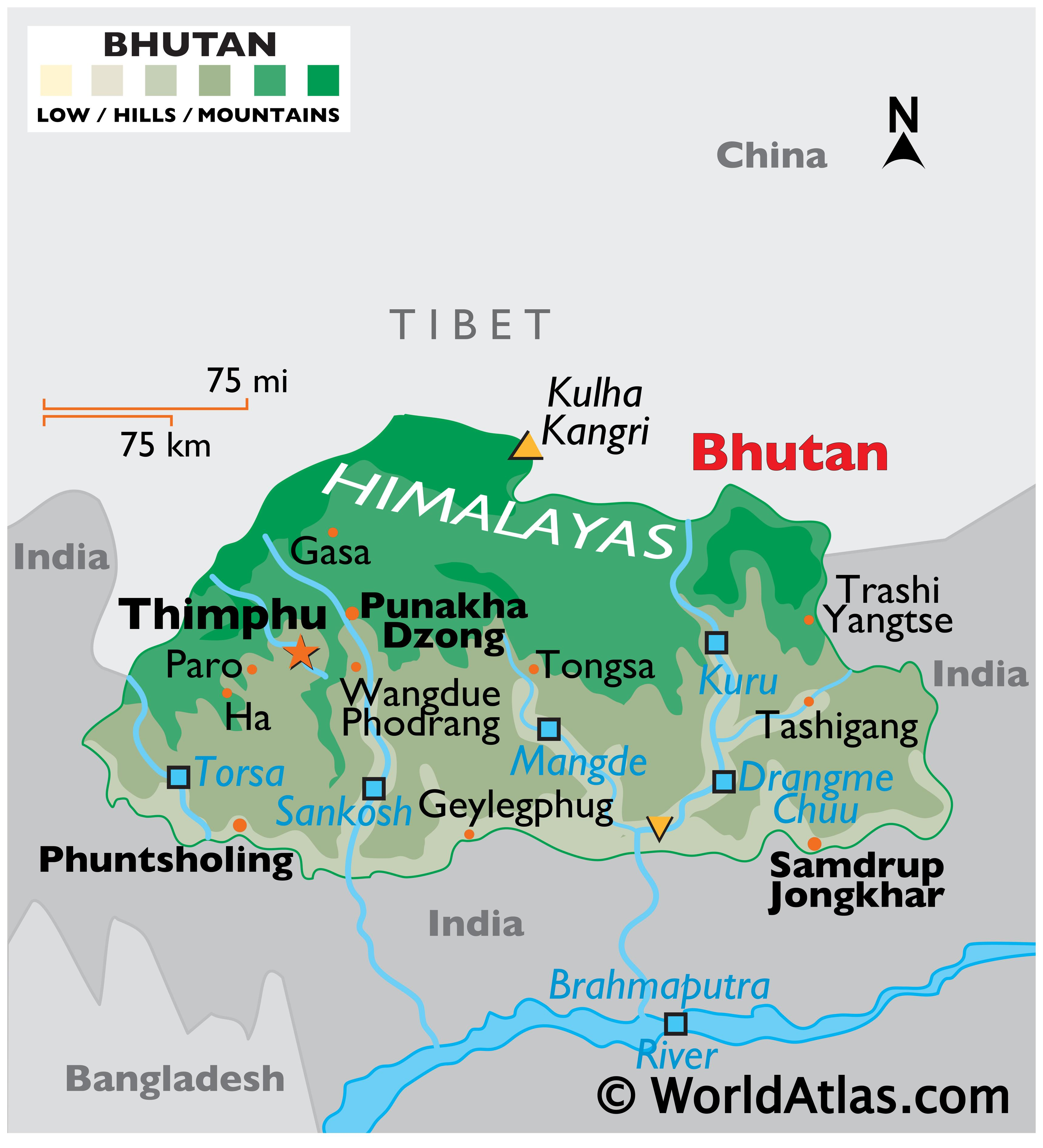 Physical Map of the Kingdom of Bhutan showing relief, the Himalayan range, major rivers, bordering countries, highest and lowest points, and more.