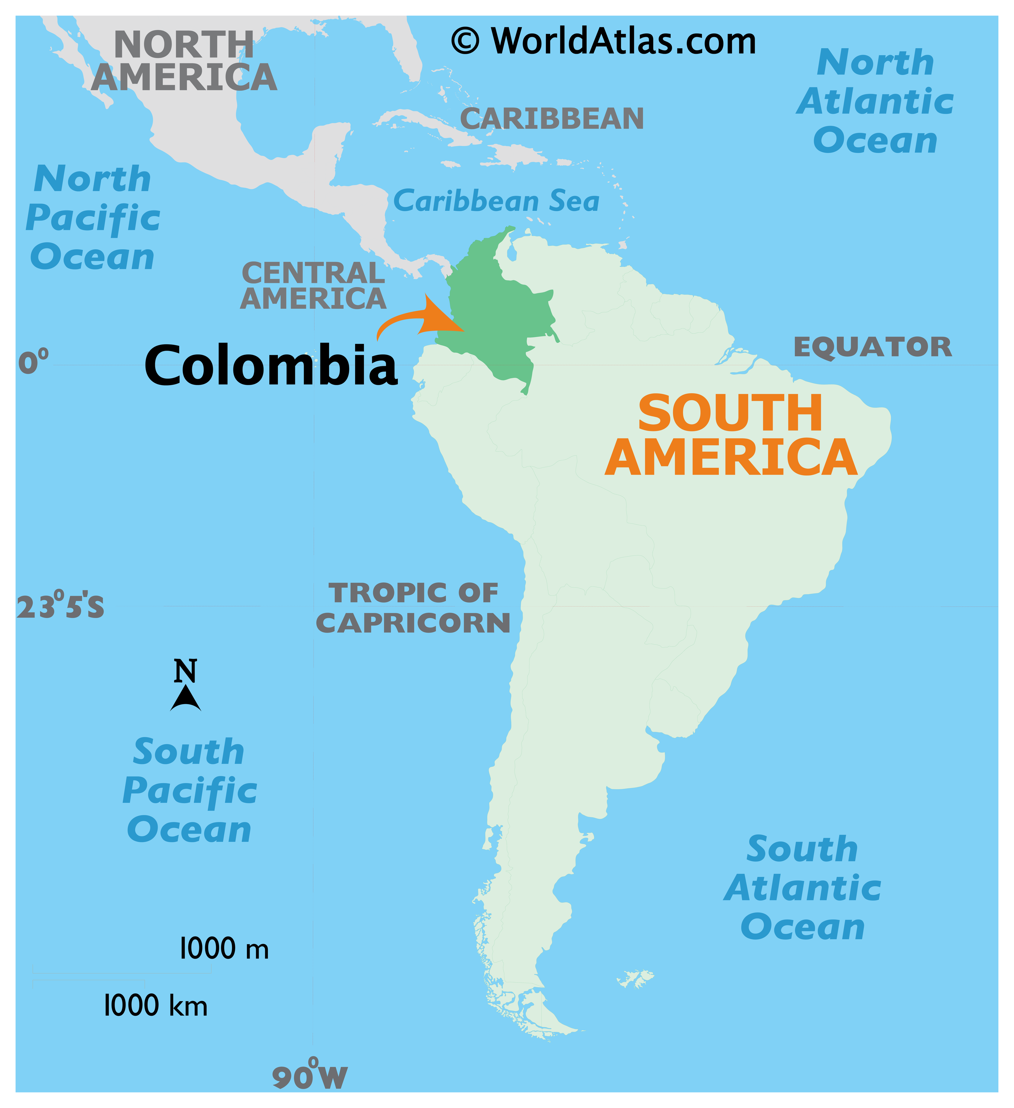 Map showing location of Colombia in the world.