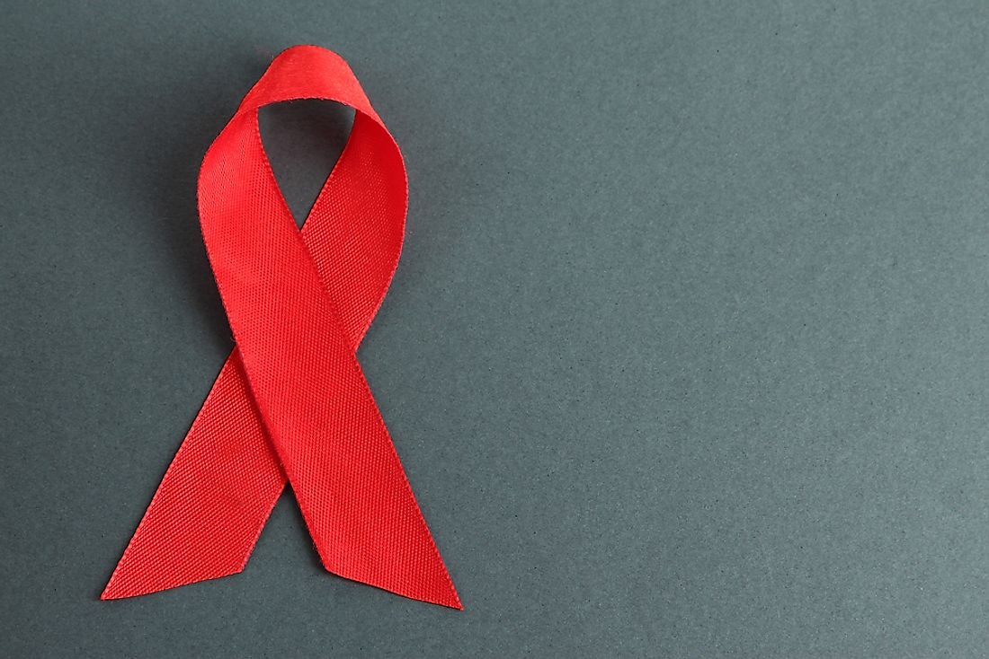 A red ribbon is a symbol of HIV/AIDS awareness.