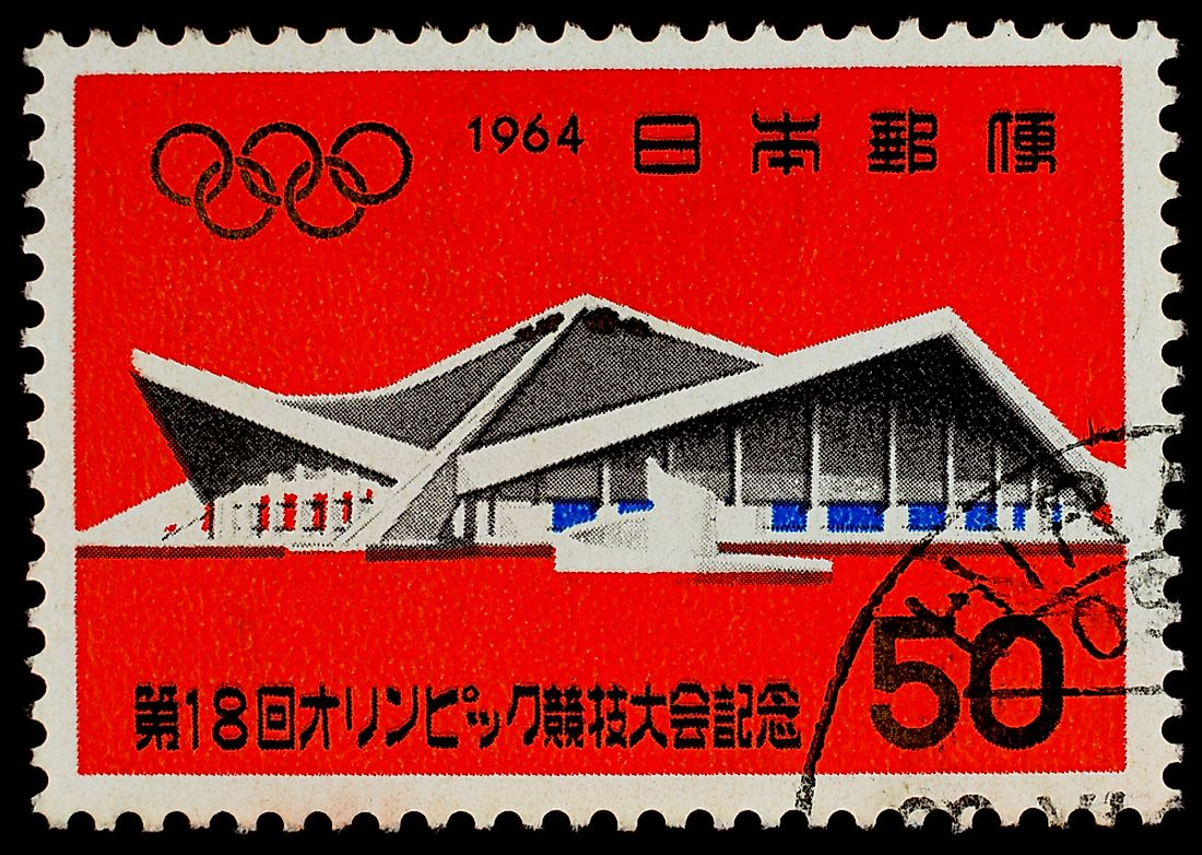 A postage stamp printed in Japan showing the Komazawa Gymnasium. Photo credit: Nicescene / Shutterstock.com.