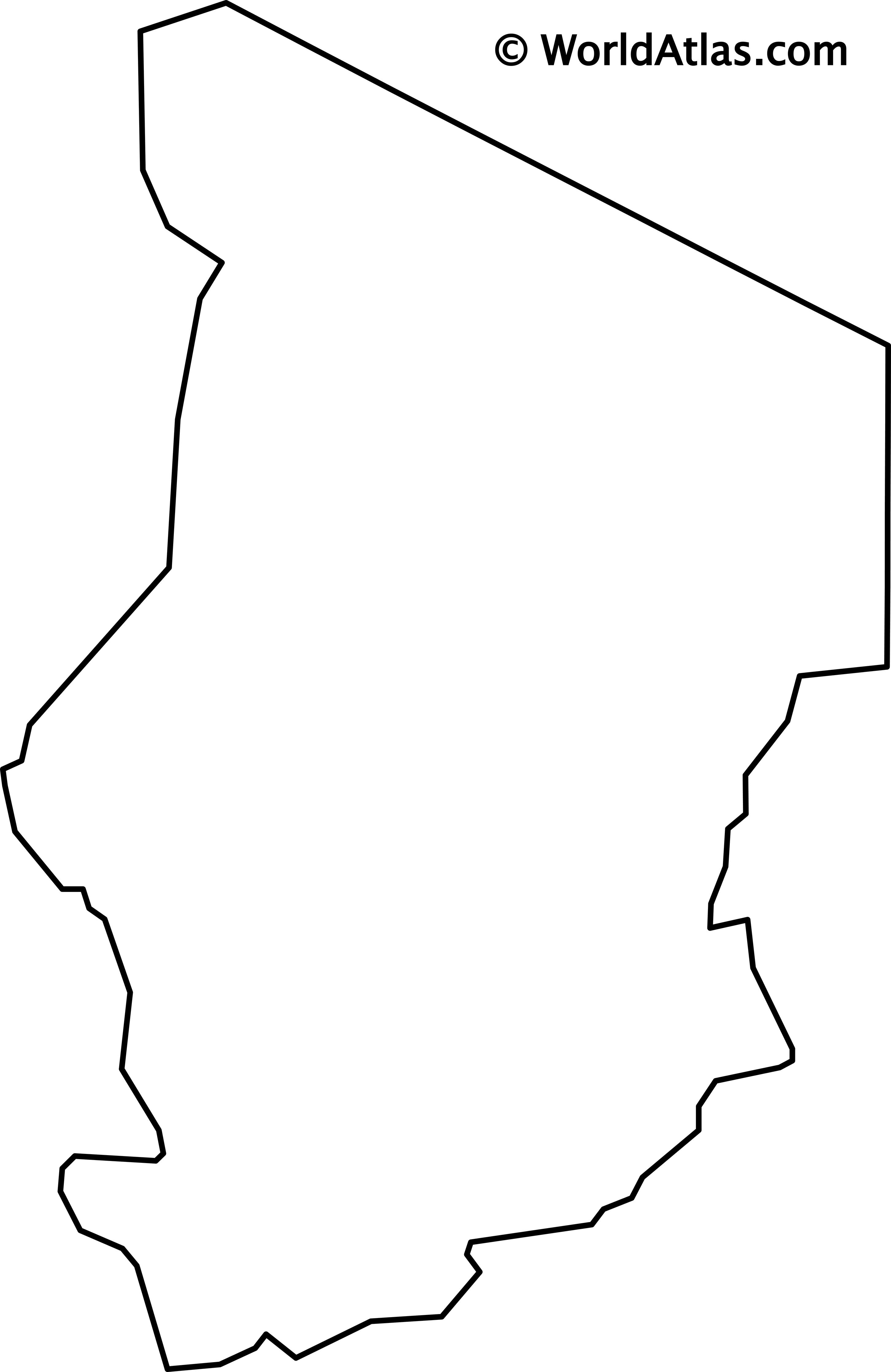 Blank Outline Map of Chad