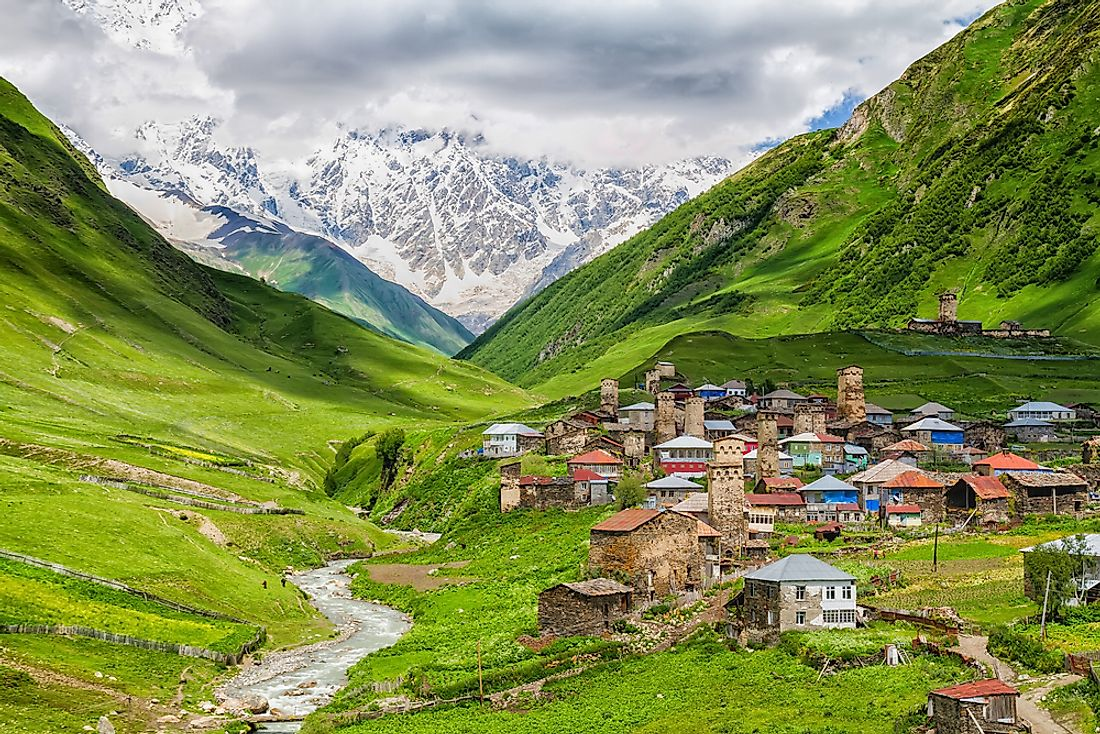 Homes in Ushguli, Georgia.