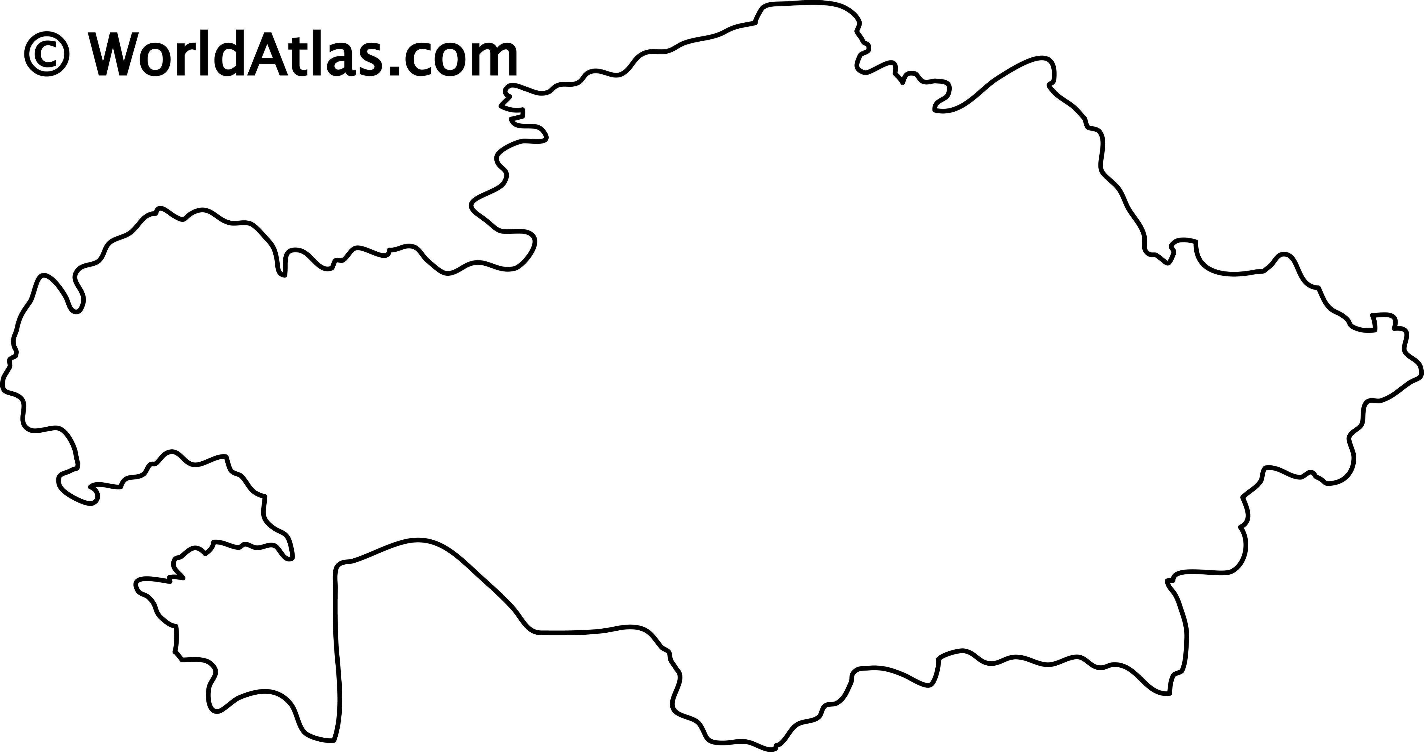 Blank Outline Map of Kazakhstan
