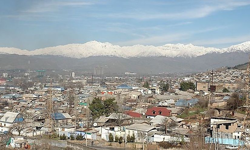 A panoramic view of Dushanbe, the largest and capital city of Tajikistan.