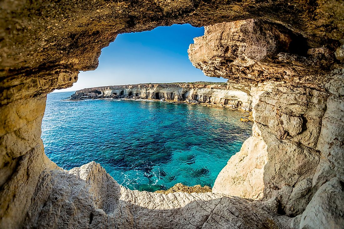 A sea cave in Cyprus. Cyprus has a Mediterranean climate.