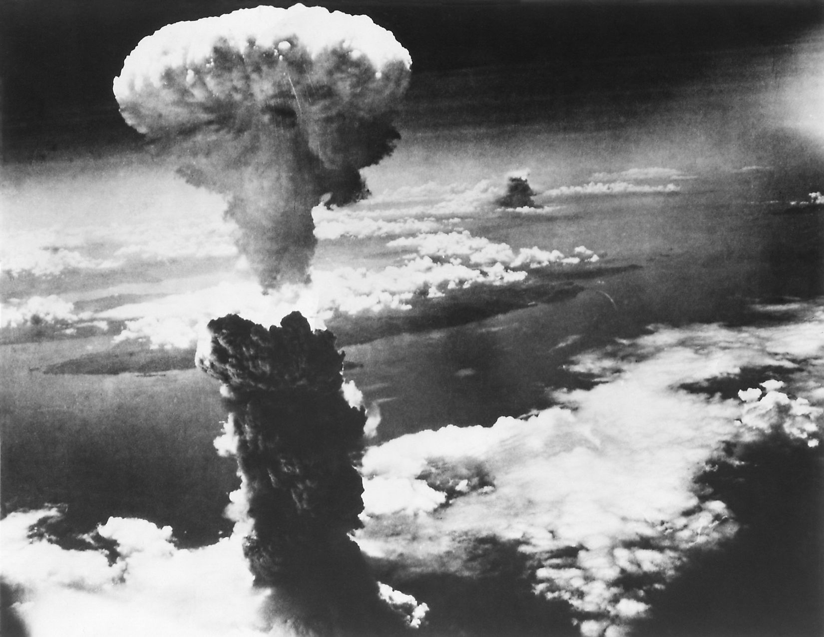 Mushroom Cloud of Atom Bomb exploded over Nagasaki, Japan, on August 9, 1945. World War 2. Image credit: Everett Collection/Shutterstock.com