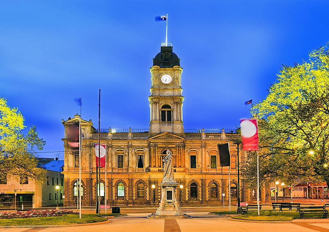 The town hall of Ballarat, the third largest city in Victoria, Australia.