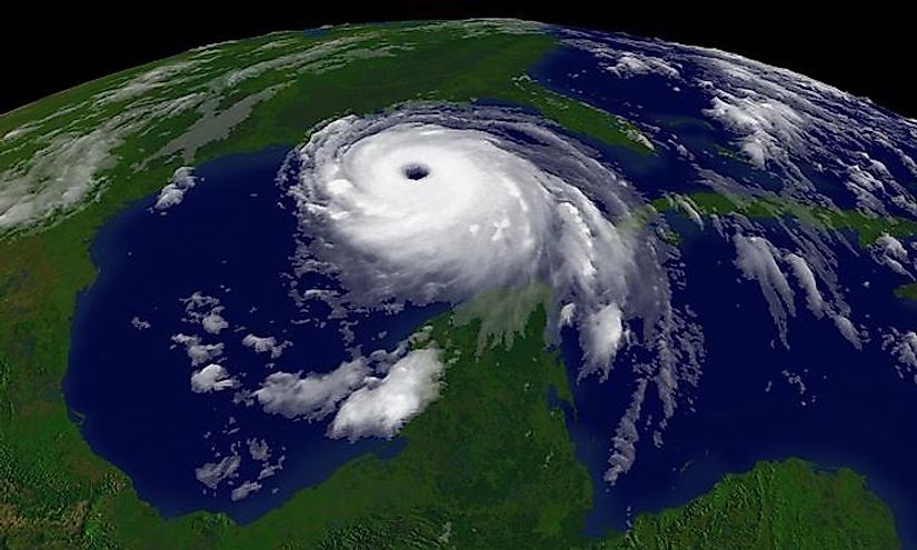 An imagery of the Hurricane Katrina with the eye at the centre.