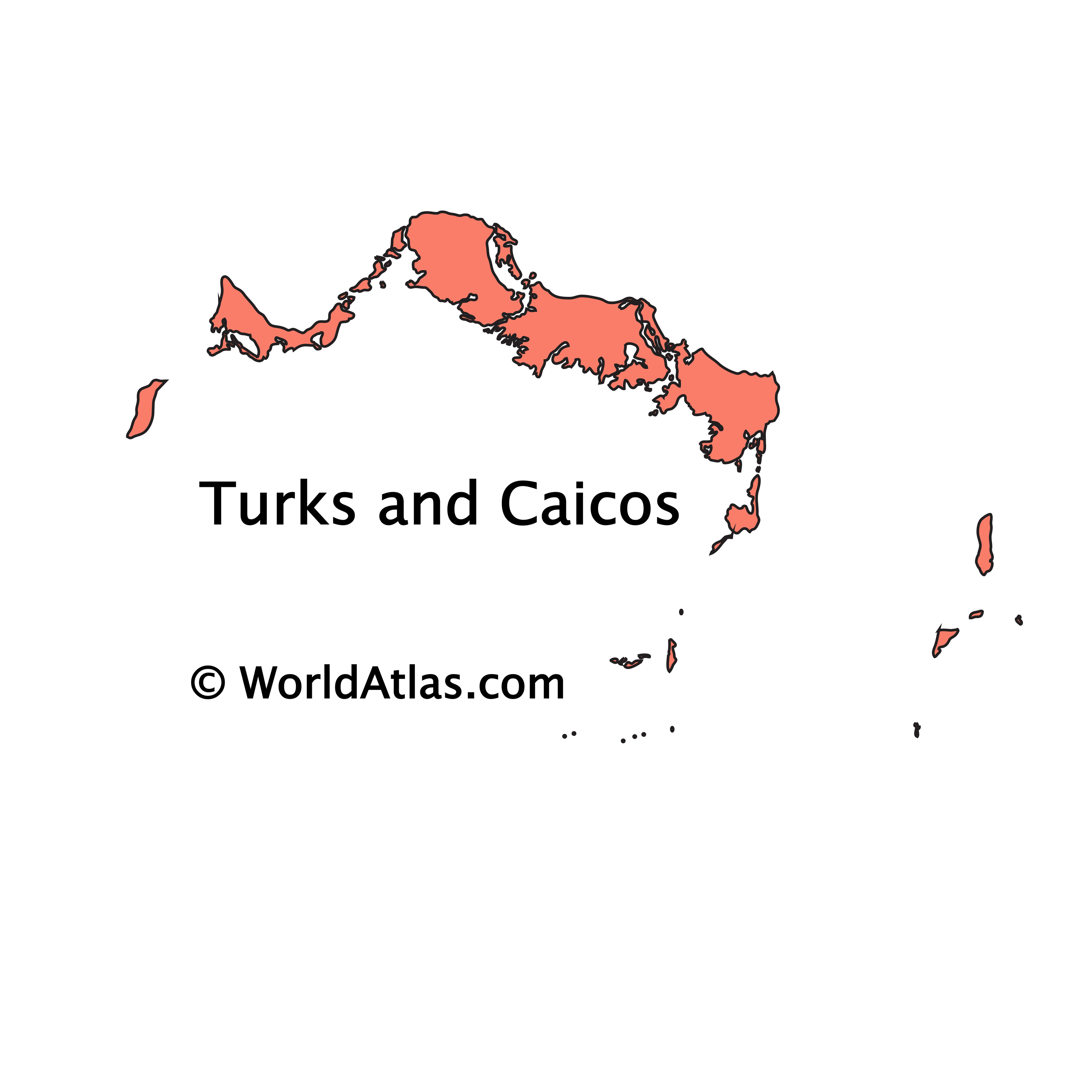 Outline Map of Turks and Caicos