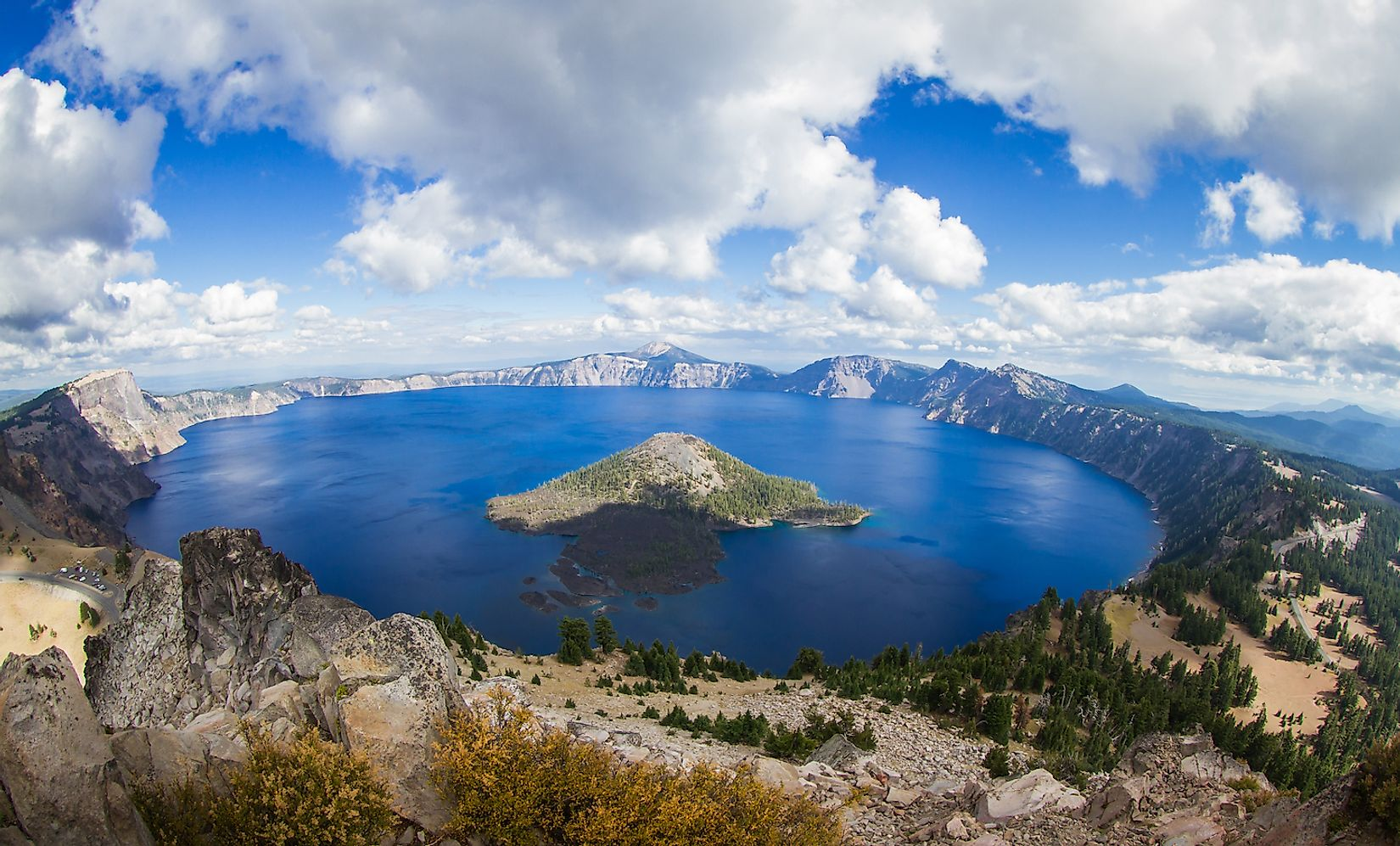 The stunning view of Crater Lake form the top of Watchman's Peak. Image credit: Wollertz/Shutterstock.com