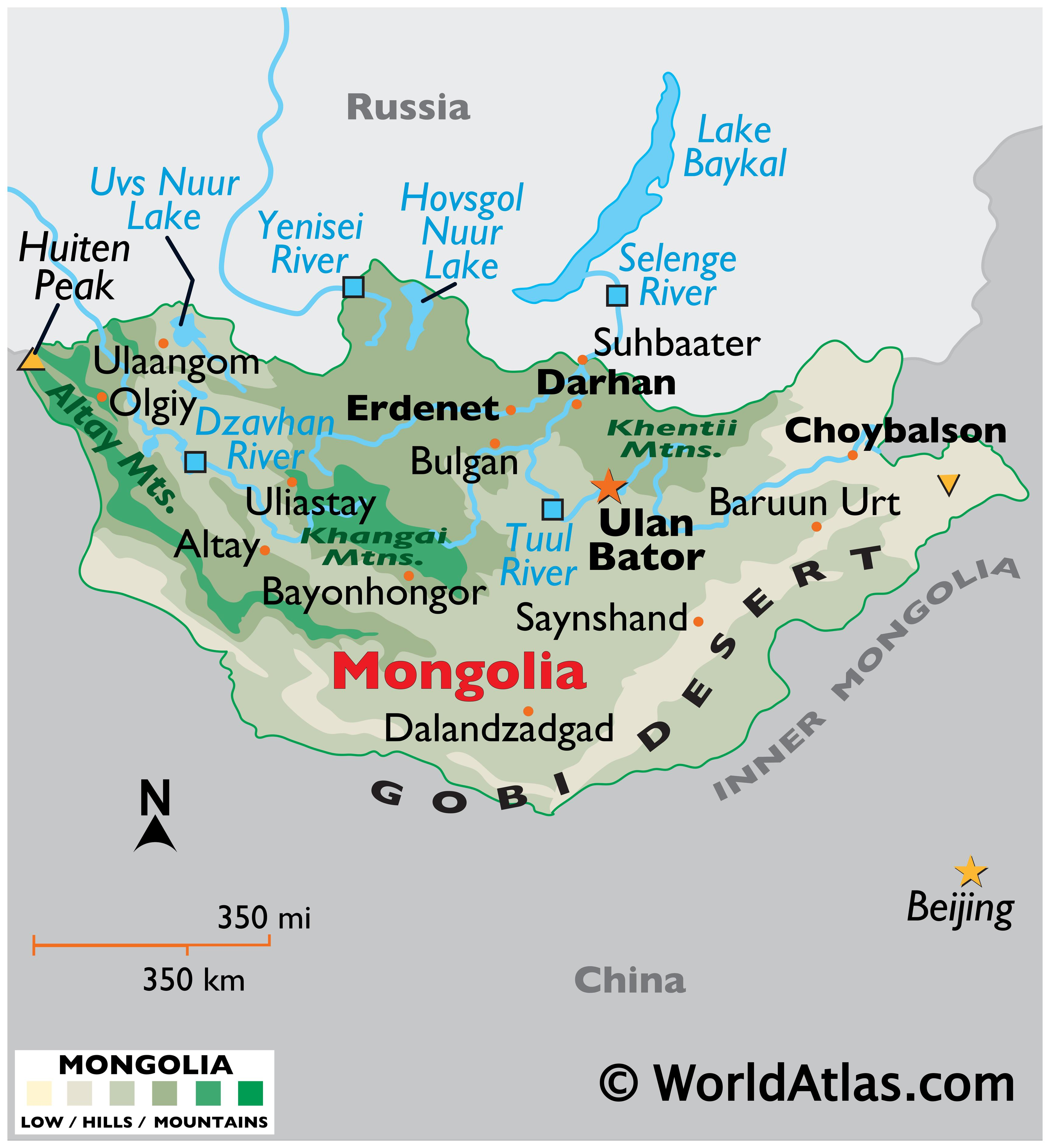 Physical Map of Mongolia showing international boundaries, relief, highest and lowest points, important cities, major mountain ranges, important rivers, the Gobi Desert, etc.
