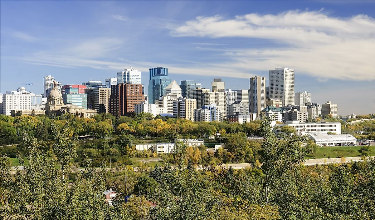 The skyline of downtown Edmonton, Alberta.