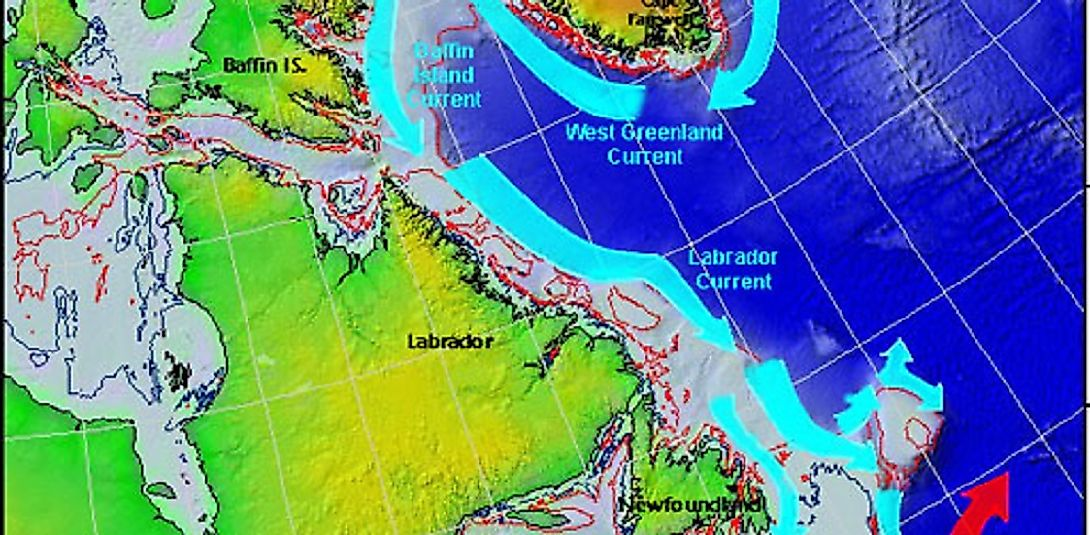 U.S. Coast Guard map of the Labrador Current off the East Coast of Canada in the North Atlantic region.