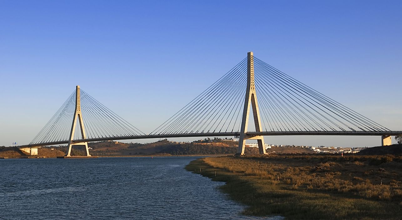 The Guadiana International Bridge forms part of the border between Portugal and Spain.