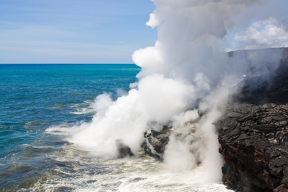 Laze is caused by molten lava flowing into the ocean.