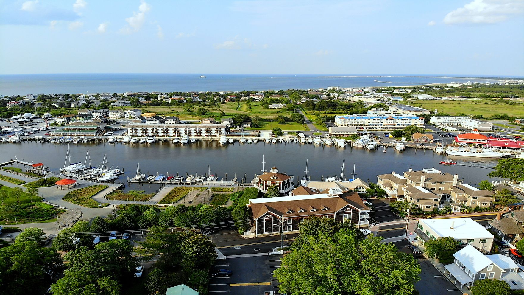Aerial view of a fishing port in Delaware. Fishing is a very important industry in the state.
