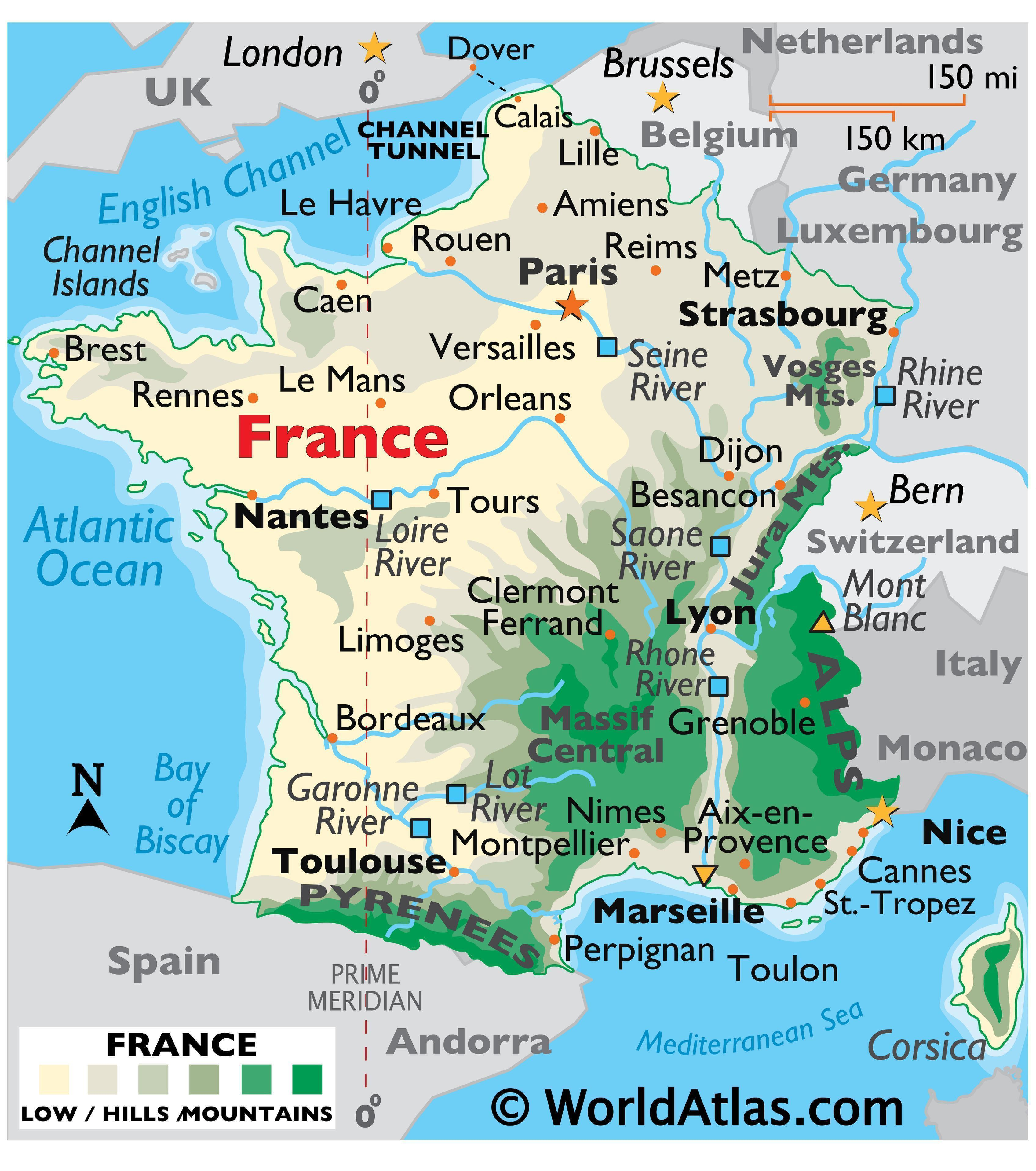 Physical Map of the France showing terrain, mountain ranges, Mont Blanc, major rivers, important cities, international boundaries, etc.