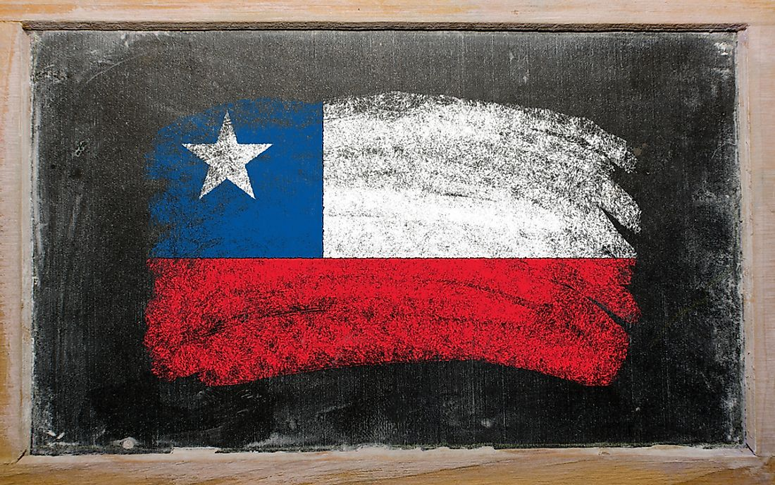 The flag of Chile on a blackboard.