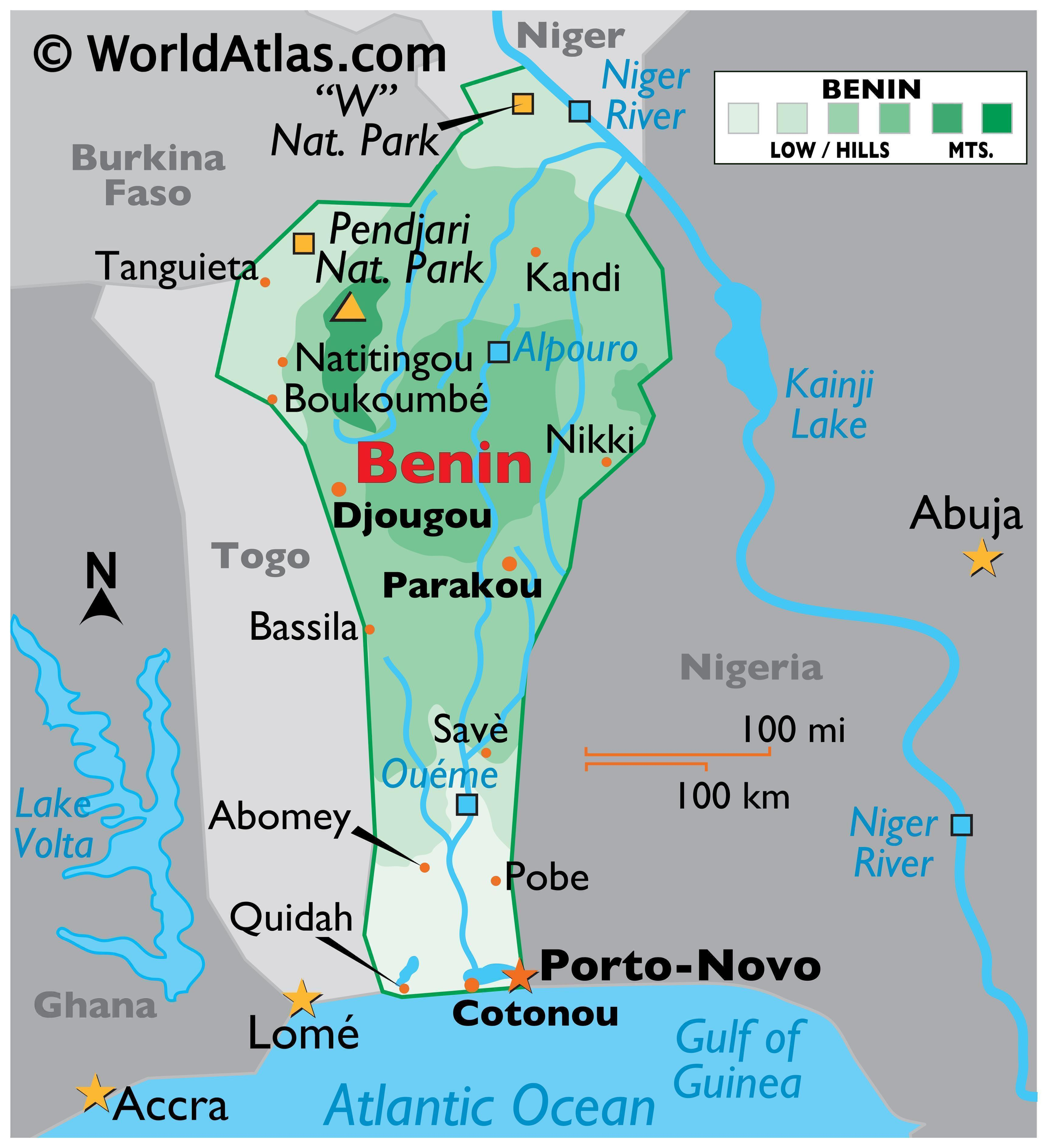 Physical Map of Benin with state boundaries. Details the physical features of the country, including relief, major rivers, cities, and various national parks.