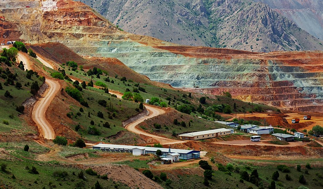 Open pit iron ore mine in Sivas, Turkey. Editorial credit: OVKNHR / Shutterstock.com
