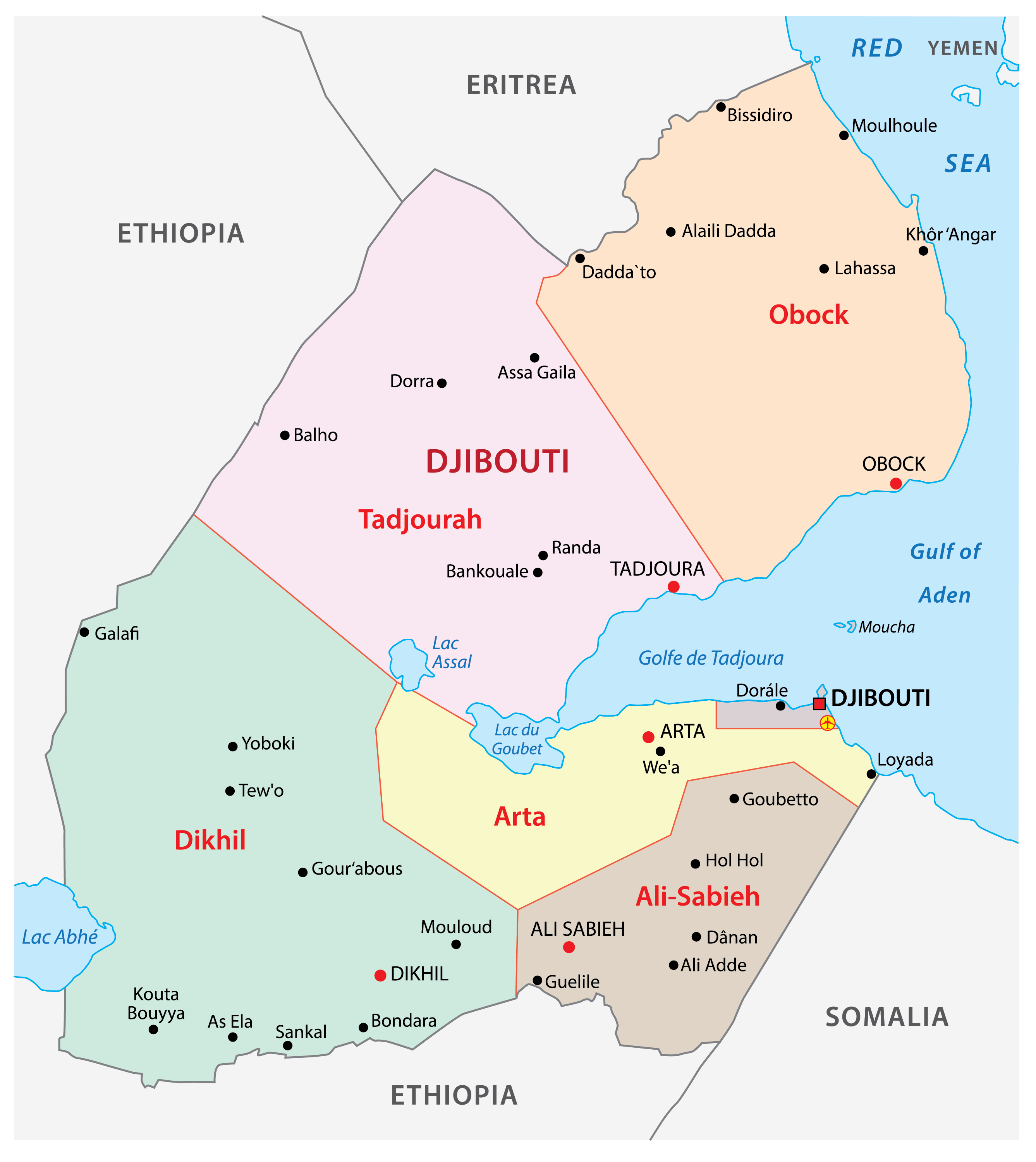 Political Map of Djibouti displaying 6 regions, their capital cities, and the national capital of Djibouti City.